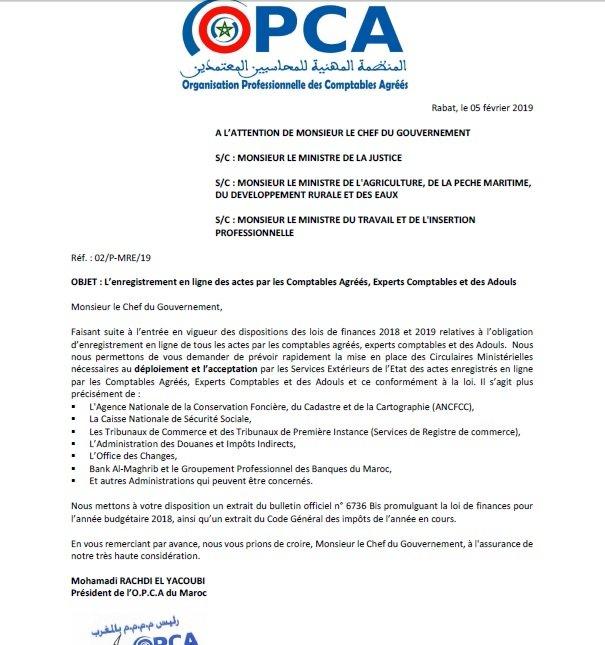 Courrier de l'OPCA
